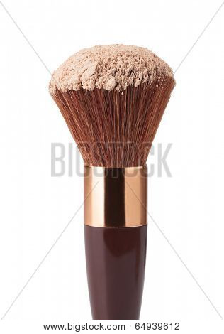 Makeup Brush and Powder on a white background