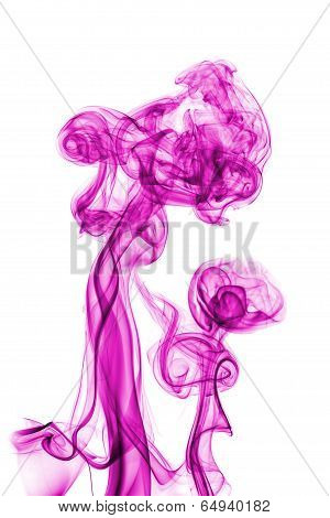 Pink Abstract Smoke Isolated On White Background
