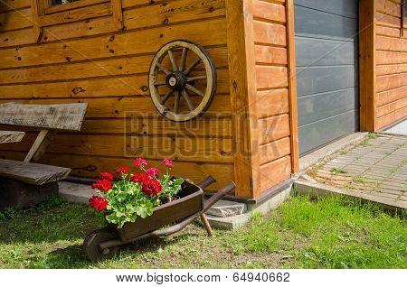 Wheelbarrow Pelargonium Rural Garden Decoration