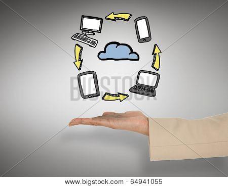Female hand presenting cloud computing graphic against grey vignette