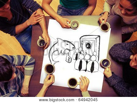 Composite image of loan shark and finance doodles on page with people sitting around table drinking coffee