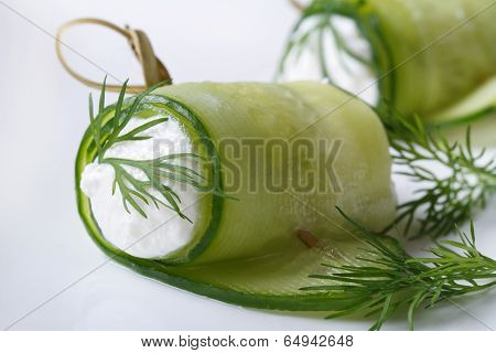 Appetizer Of Cucumber Rolls With Cream Cheese And Dill