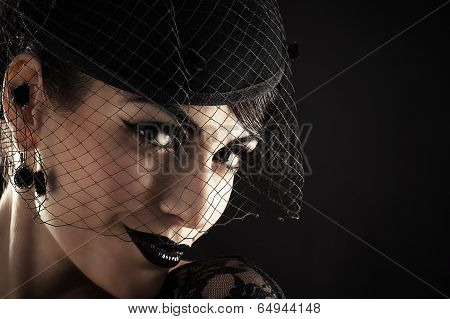 portrait of retro woman in veil