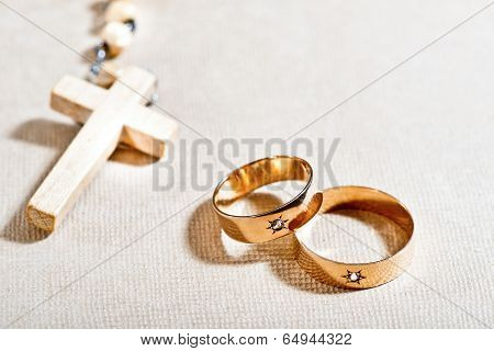 Wedding Rings And Cross