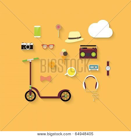 Hipster Flat Vector Icon Set.
