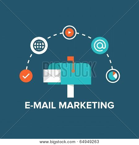 E-mail Marketing Flat Illustration poster