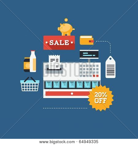 Commerce And Retail Flat Illustration
