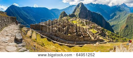 Panorama Of Mysterious City - Machu Picchu, Peru,south America. The Incan Ruins. Example Of Polygona