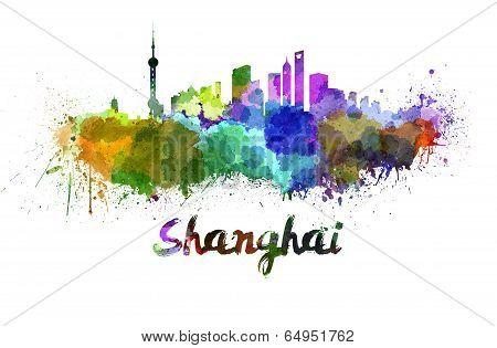 Shanghai Skyline In Watercolor
