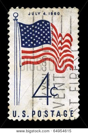 Us Postage Stamp Depicting The 50 Star Usa Flag