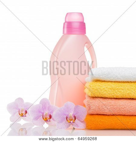 colorful towels and flower isolated on white