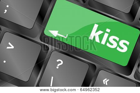 Key With The Word Kiss On It, On A Computer Keyboard