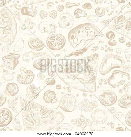 Seamless background with pieces of pizza and ingredients, hand-drawn illustration.
