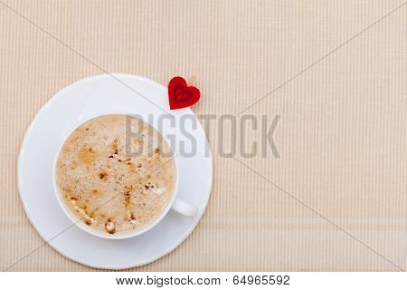 White Cup Coffee Hot Drink And Heart Symbol Love Valentine's Day