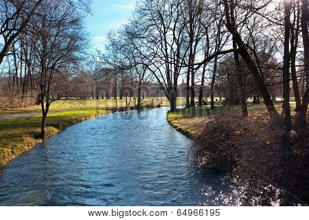 English Garden Of Munich In Bavaria In The Autumn