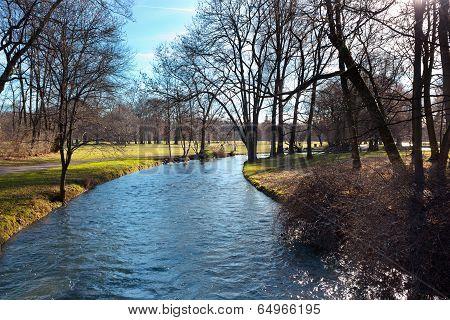 English Garden Of Munich In Bavaria In The Autumn