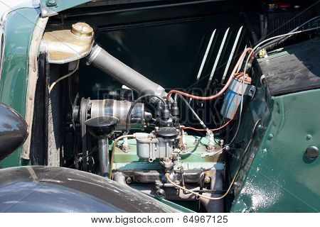 Vintage car engine detail