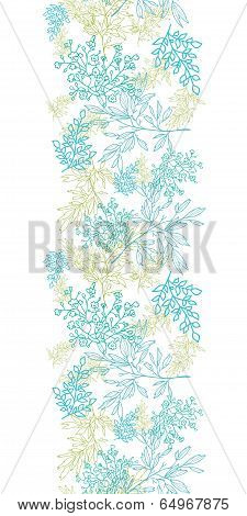 Scattered blue green branches vertical seamless pattern background