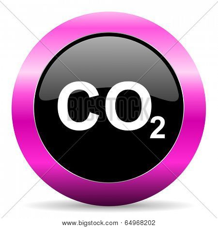 carbon dioxide pink glossy icon