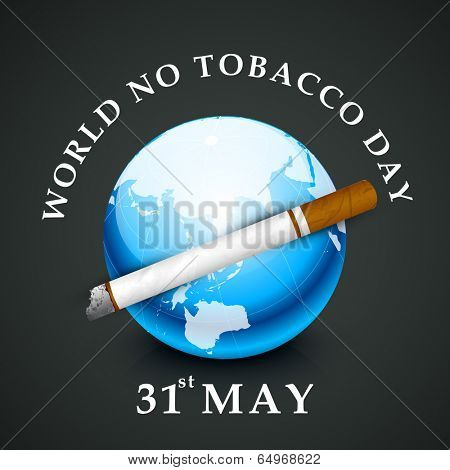 World No Tobacco Day concept with stylish text and globe on grey background.