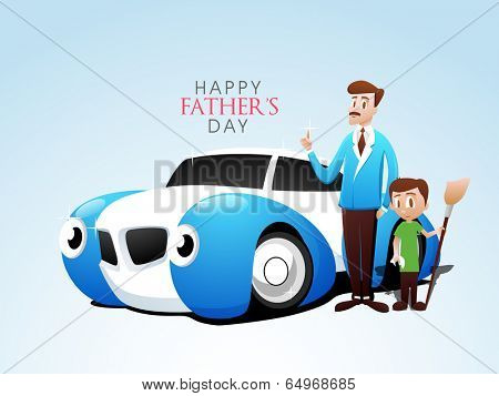 Happy Father's Day celebrations poster, banner or flyer design illustration of a father with his kid and car on blue background.
