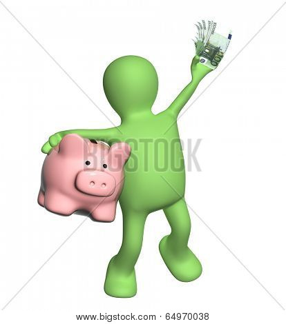 Happy puppet with piggy bank and banknotes of euro. Isolated on white background