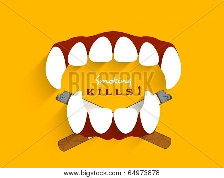 World No Smoking Day concept with devil's teeth and cigarette on yellow background. Smoking Kills.
