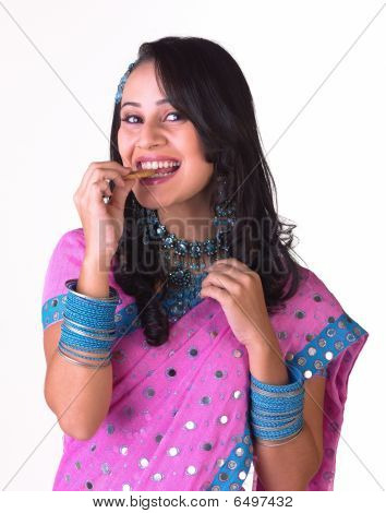indian model biting the biscuit