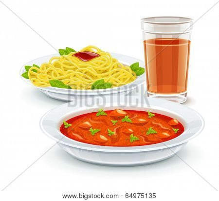 Set meal dinner menu with soup pasta and juice drink. Eps10 vector illustration. Isolated on white background