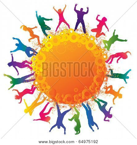 Happy young people. Detailed silhouettes of dancing teenagers. Concept background.