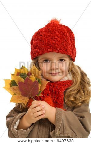 Little Girl Autumn Portrait - Isolated