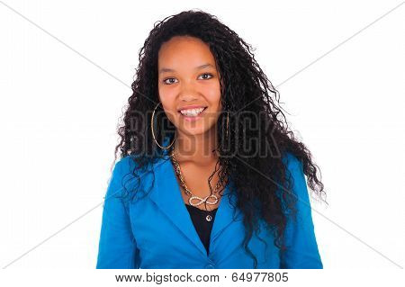 Beautiful African American Woman Close Up Portrait