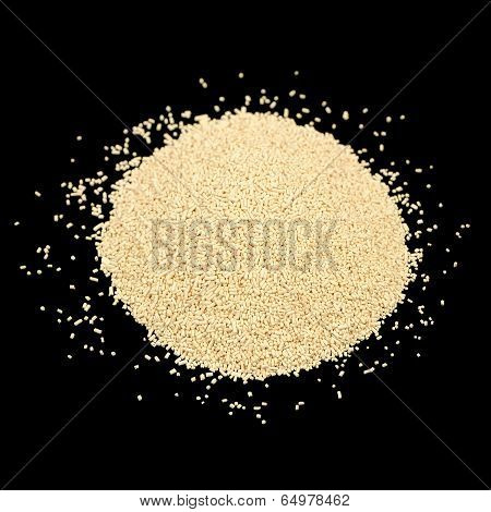 Active Dry Yeast On Black Background