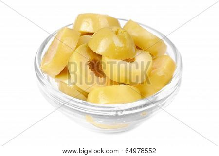 Sliced Green Olives On Bowl Isolated On The White Background