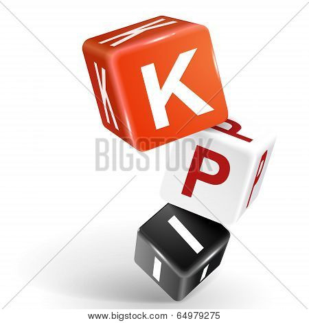3D Dice Illustration With Word Kpi