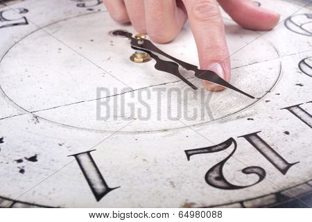 Female Finger Changes The Time On A Clock