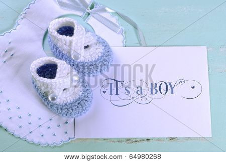 Baby Boy Nursery Blue And White Wool Booties, Bib And Card With Its A Boy Sample Text