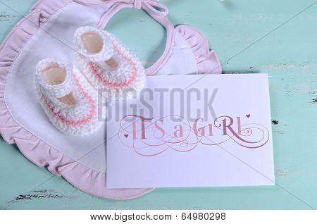 Baby Girl Nursery Pink And White Stripe Wool Booties, Bib, And Card