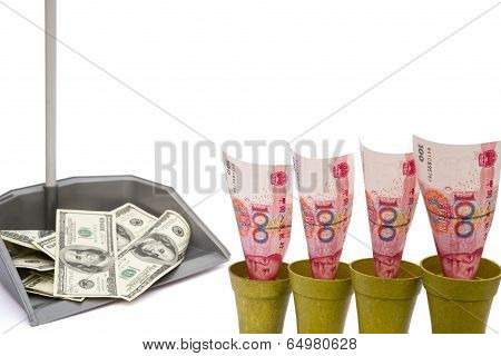 Rmb Rising And Usd In Rubbish Bin With Clipping Path