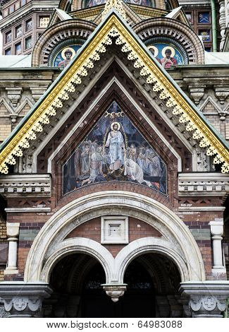 Church of Savior on Spilled Blood (ST.PETERSBURG, RUSSIA). Detail of facade.