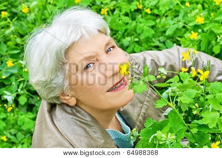 Happy Elderly Woman Sitting On A Glade Of Yellow Flowers In Spring And Smelling A Flower