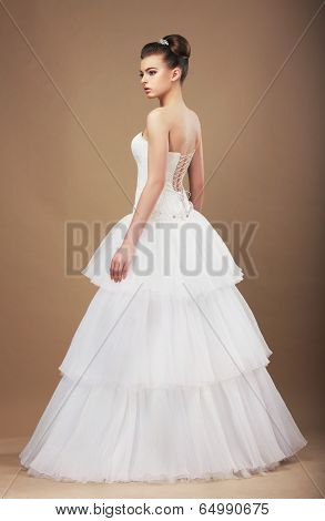 Elegance. Young Bride In Long Classic Bridal Dress
