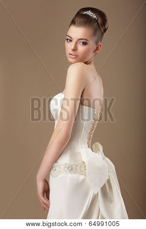 Formal Party. Rich Woman In White Dress With Bow Knot