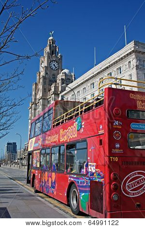 Liverpool Uk, 26 April 2014. Liverpool Sightseeing Bus In Front Of The Liver Buildings. Liverpool Uk