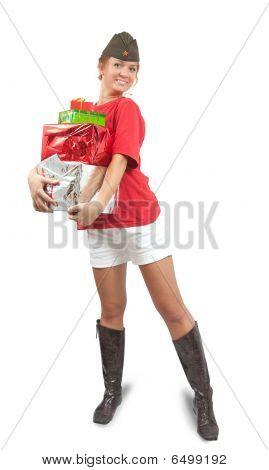 Bild von happy UdSSR Mädchen mit Geschenken