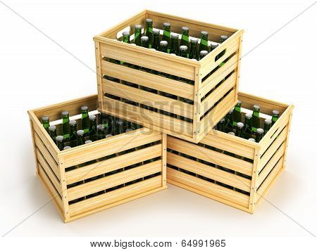 Wooden Boxes With Green Beer Bottles.