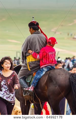 Horseback Boy & Man On Steppe, Nadaam Horse Race