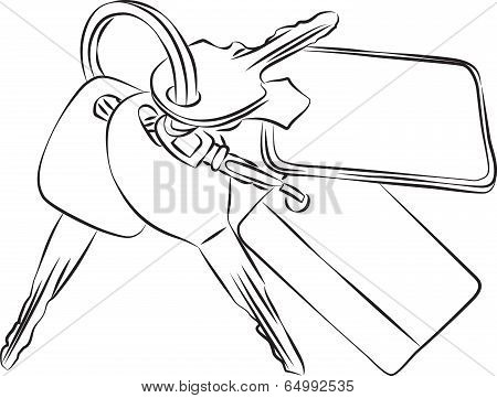 Set of Keys Line Drawing