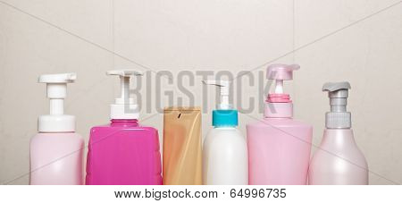 Row Of Toiletry Bottles