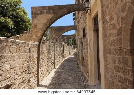 Medieval Avenue Of The Knights Greece. Rhodos Island.